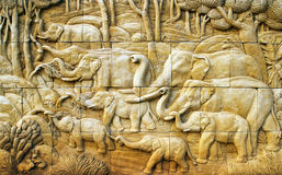 Carved Elephant on stone wall Royalty Free Stock Photos