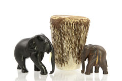 Carved elephants with African drum Stock Photos
