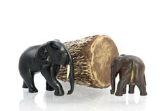 Carved elephants and African drum Royalty Free Stock Photography