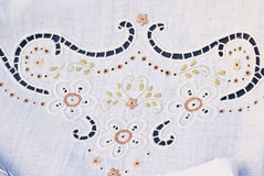 Carved and embroidered cloth. handmade.  stock photos