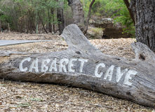 Carved entrance Cabaret Cave sign in Yanchep National Park Royalty Free Stock Image