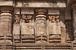 Carved erotic sculptures at Sun Temple, Konark Royalty Free Stock Photo