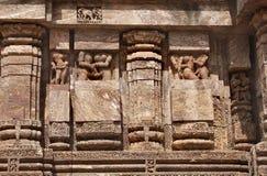 Carved erotic sculptures at Sun Temple, Konark. Konark Sun Temple  also known as the Black Pagoda ia a 13th-century Sun Temple at Konark, in Orissa.The entire Royalty Free Stock Photo