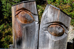 Carved eye tree trunk Royalty Free Stock Photography