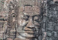 The carved faces of Angkor Thom, Cambodia stock image