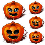 Carved faces of pumpkins with eyes on Halloween. Set of carved faces of pumpkins with eyes on Halloween. Festive character, holiday symbol. Vector illustration stock illustration