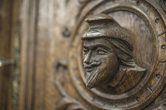 Carved figures. On wood, element of decor Stock Photo