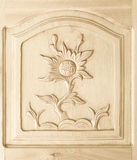 Carved of flower pattern on wooden door Royalty Free Stock Photo