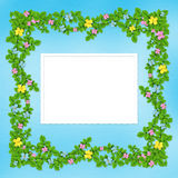 Carved frame with flower garland Stock Photos