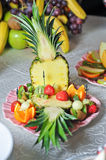 Carved fruits arrangement Royalty Free Stock Images