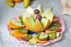 Carved fruits arrangement Stock Photo