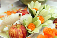 Carved fruits and vegetables Royalty Free Stock Photos