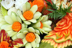 Carved fruits and vegetables Royalty Free Stock Images