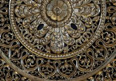 carved golden flower carving sculpture pattern art royalty free stock photography
