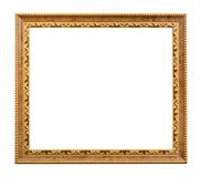 Carved golden wooden picture frame isolated Royalty Free Stock Photo