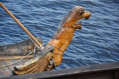 The carved griffin on the nose of the Old Russian ship - the boat. On the river ships this type rook - the Russian Cossacks conquered Siberia Stock Image