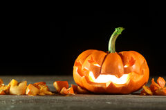 Carved Halloween jack o' lantern Royalty Free Stock Photo