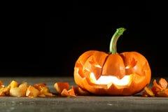 Carved Halloween jack o' lantern Royalty Free Stock Photo