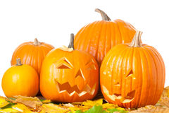 Carved Halloween Jack O Lanterns Royalty Free Stock Photography