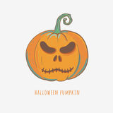 Carved halloween pumpkin. Halloween pumpkin with angry face, decorative carved pumpkin for halloween, vector illustration Stock Images