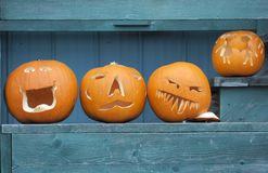Carved Halloween pumpkins on display Stock Images