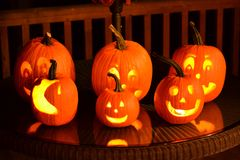 Carved Halloween pumpkins Royalty Free Stock Images