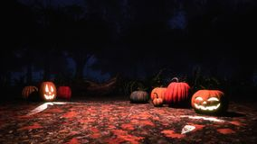 Carved halloween pumpkins in misty night forest vector illustration