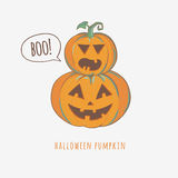 Carved Halloween pumpkins saying boo. Halloween carved pumpkins  on white background, vector illustration Royalty Free Stock Photo