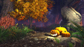 Carved Halloween pumpkins under old tree Stock Image