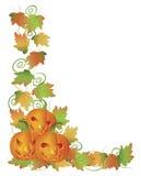 Carved Halloween Pumpkins and Vines Border. Happy Halloween Trio of Carved Pumpkins with Leaves and Twine Border Illustration Stock Image