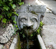 Carved head water feature Royalty Free Stock Photos