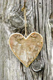 Carved heart hanging on tree Stock Images