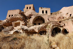 Carved homes in cappadocia Royalty Free Stock Photos