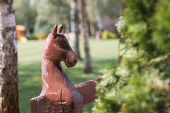 Carved horse`s head Stock Photo