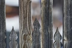 Carved hungarian motive on the fence 2. Carved hungarian motive on an old wooden fence in Transylvania, Romania stock photos