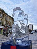 Carved Ice Sculptures in Burnley Town centre in Late November Royalty Free Stock Photography