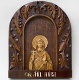 Carved icon from wood handmade. Holy Nicka Royalty Free Stock Photo