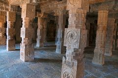 Carved inner pillars, agra-mandapa, Airavatesvara Temple, Darasuram, Tamil Nadu Stock Photos