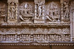 Carved inner walls of Rani ki vav,an intricately constructed stepwell on the banks of Saraswati River. Patan, Gujarat, India