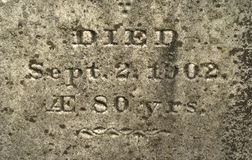 Carved Inscription Old Headstone Stock Photos