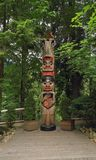 Vancouver, Canada: Tourism - Raven Totem Pole in Capilano Suspension Bridge Park Stock Photography
