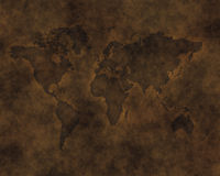 carved Leather map of world Stock Photos