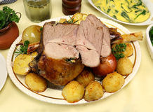 Carved Leg Of Lamb Stock Images