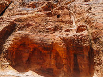 Carved Lion in Cave, Petra. The ancient Nabataeans carved a lion in the cave of Petra to serve as a fountain. Water was supposed to flow from the top to the lion Royalty Free Stock Photos