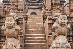 Carved Lions at the entrance of the Sun Temple Royalty Free Stock Images