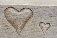 Carved Love hearts Royalty Free Stock Photography