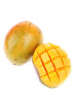 Carved mango isolated over white Royalty Free Stock Image