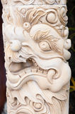 Carved marble column  dragon. Carved marble column with dragon head Stock Photos