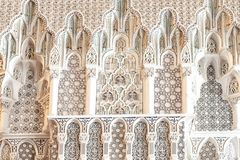 Geometric patterns: Details King Hassan II Mosque, Casablanca, Morocco. Carved marble decoration inside King Hassan II Mosque in Casablanca, Morocco Royalty Free Stock Photos