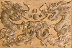 The carved marble dragon shaped. Decoration in Chinese temple Stock Image